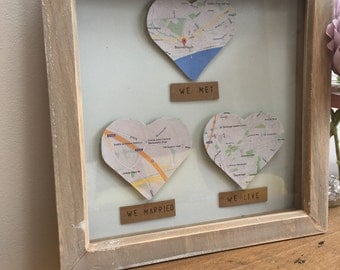Heart map frame, anniversary gift, gift for couples, romantic gift, personalised frame, personalized, gift for newlyweds, love story frame