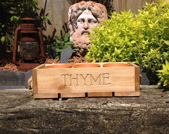 Trough - Handmade 'Thyme' Trough complete with 3 Terracotta Pots