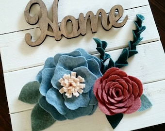 Home Wood Sign with Felt Flowers 10""