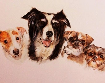 Custom Quadruple Pet Portrait, original watercolour painted from your photos, made to order