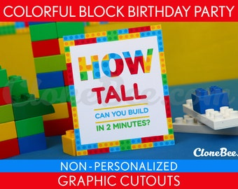 Colorful Blocks Birthday Party - Graphic Cutouts NonPersonalized Printable // Colorful Blocks - B22Nh