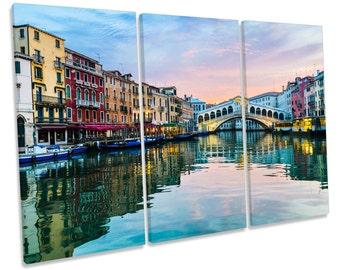 Rialto Bridge Venice Italy Treble CANVAS WALL ART Box Framed Print