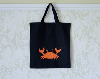 Crabby Hand Screen Printed Cotton Tote Bag
