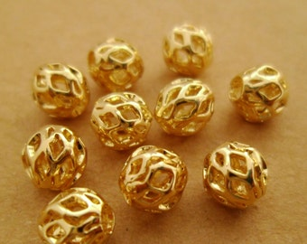 30pcs 6mm Premium Delicate 14k Gold Plated Filigree Hollow Round Beads Spacers Wedding Or Gifts