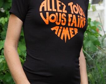 T-shirt woman Bare shoulders black, calligram