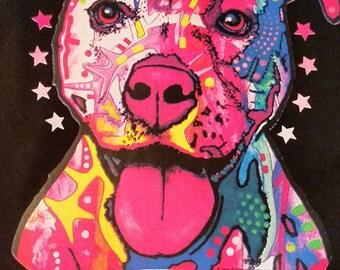 Pitbull neon screen print t-shirt