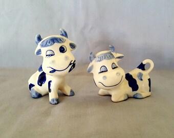 Vintage Delft Blue Handcrafted Porcelain Cows