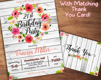 Rustic Birthday Invitation, 1st, 16th, 21st, 30th Birthday Invitation, Girl Birthday Invitation, Floral Birthday Invitation, Birthday Party