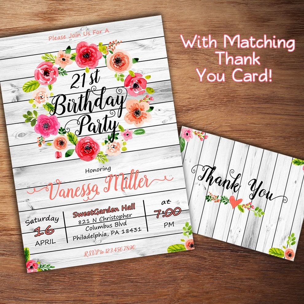 Rustic Birthday Invitation 1st 16th 21st 30th Birthday