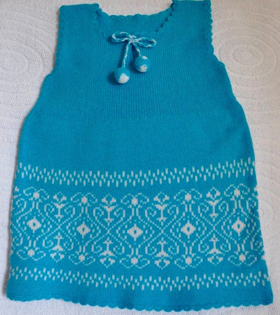Baby dress knit blue turquoise Handmade  hand knitted girls dress Ready to Ship childrens handmade
