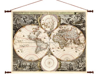 Items similar to decorative shower curtain vintage map for German made bathroom accessories