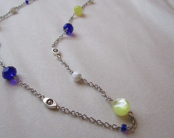 Blue, Yellow, White, and Silver Spaced Necklace
