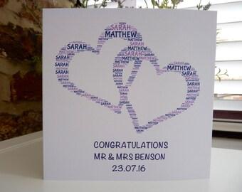 Personalised Wedding Card, Wedding Card, Love Hearts Card, Congratulations on your Wedding Card, Word Art Card