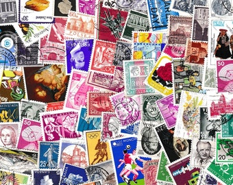 A Good Selection Of 200 vintage World Postage Stamps, All Different, Ideal For Collectors And Crafts Folk Alike for collage and decoupage