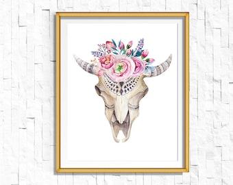 Instant Download Printable Bohemian Floral Skull Print   Boho Wall Art Print   Tribal Woodland Watercolor Home Decor Boho Nursery Dorm