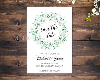 Save The Date Cards, Wedding Invitation, Save The Date, Personalized Wedding, Green Wedding, Wedding Invitations, Floral Save The Date x 20
