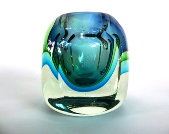 Mid-Century Modern Murano Small Sommerso Art Glass Vase by Flavio Poli for Seguso Vetri d'Arte, Clear, Blue and Green Glass
