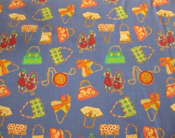 Royal Blue fabric with handbags on (also available in golden yellow) - cotton lawn fabric per half meter (144cm wide)