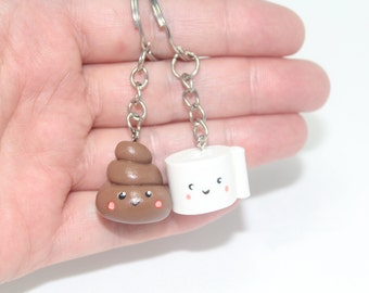 BFF set Poop and toilet paper friendship BFF keyrings necklace Best Friend Keychain Kawaii Necklace friendship keychain bff necklace