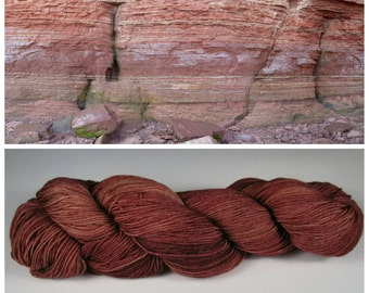 Hand Dyed Yarn, Merino, Nylon, Fingering Weight Tonal Sock Yarn Perfect for Socks, Shawls and Other Lightweight Accessories - Banded Seawall