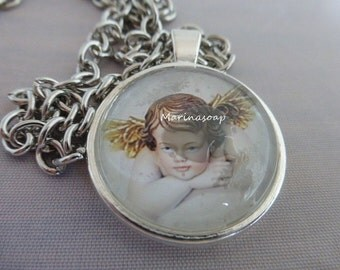 Cabochonkette Engel, Kette, Anhänger, Engel, Geschenk Mutter Tochter Frau Freundin, Muttertag, Schutzengel