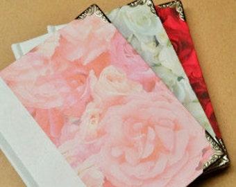 3 Rose Journals, Notebooks, Sketchbooks