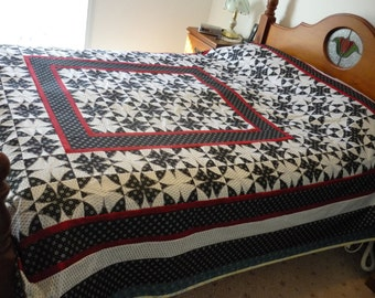 Queen Black, White, Silver & Red Patchwork Quilt