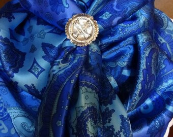 205silk - 100% SILK CHARMEUSE - Royal and Light Blue Paisley
