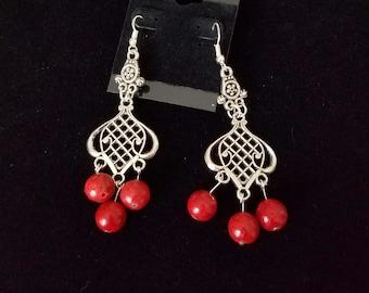 Coral Earrings, Red Coral earrings, Red Chandelier Earrings, Red Dangle Earring,Red Coral Chandelier Earrings with Sterling Silver Ear Hooks
