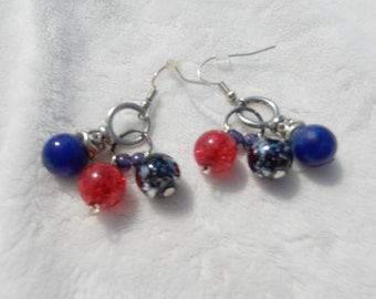 Red, Blue, and Black Americana Earrings