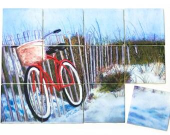Bike on the Beach Ceramic Mural
