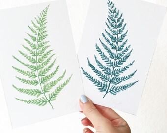 Fern Leaf Illustration, Botanical Print, Fern Print, Botanical illustration, Tropical Leaf Print, Botanical Decor, Green Decor