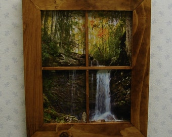Handmade Window Pane Picture Frame  English Chestnut Finish Rustic Wall Decor 8 x 10