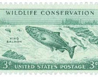 25 King Salmon Stamps - 3c - Vintage from 1956 - Unused Postage - Quantity 25 - Wildlife Conservation