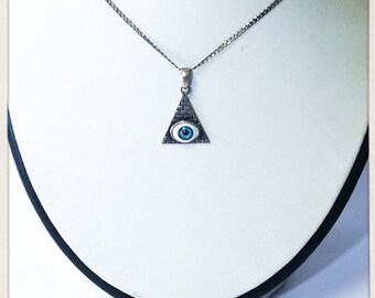 Pyramid Eye pendant necklace