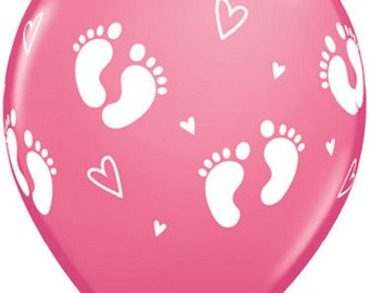 6 x PINK Baby Footprints and Hearts Latex Balloons - Baby Shower or Birth Announcement these are perfect.