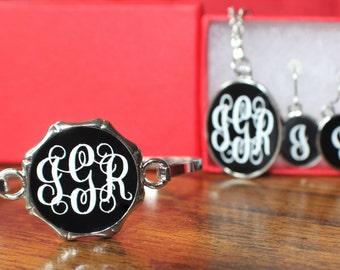 Black Monogrammed Jewelry Set, Necklace, Earrings, Bracelet