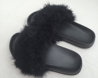 Women's Fur Furry Sliders - Black & White Fur Available In Size 3-6
