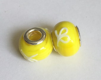 2 Yellow and White Murano Glass Pandora Style Beads