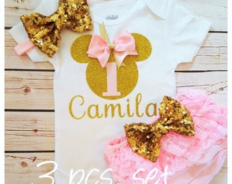 Minnie Mouse pink and gold outfit,Diaper cover birthday outfit,Minnie Mouse birthday outfit,pink birthday set,girl birthday outfit
