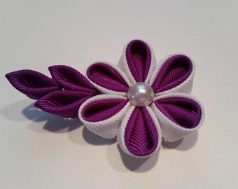 Purple and white flower hair clip, kanzashi ribbon flower bow
