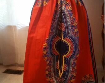 Orange/Blue Dashiki Print Maxi Skirt