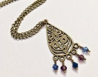 Tribal Beaded Pendant Necklace