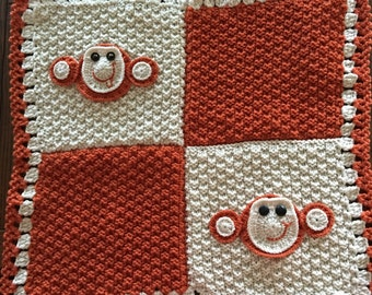 monkey blanket,29 in x 29 in,blanket for baby and toddlers,knitted,brown and bone yarn,handmade,0wl, throw,smooth,comfy,warm,baby usage