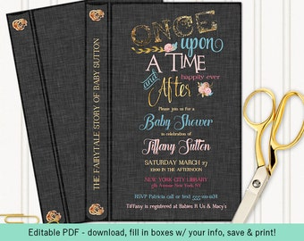 Once Upon a Time Fairytale Story Book Invitation | Graphite Grey Gold Pink & Blue | Gender Neutral | Editable PDF Digital Instant Download