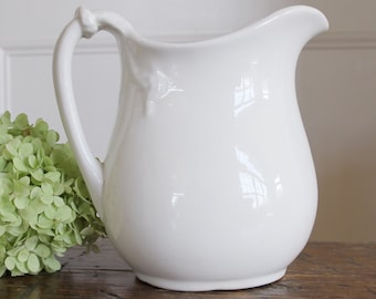 RESERVED*** Ironstone pitcher, vintage white