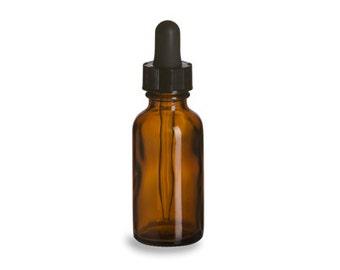 Set of 6 - 1 oz Amber Boston Round Glass Bottle with Glass Dropper - 1oz serum bottle, 1 oz essential oils bottle, 30ml amber bottle