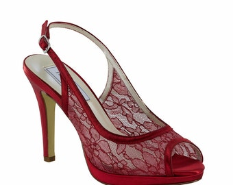Red Lace Slingback Heels, Bridal Shoes, Bridesmaids' Shoes