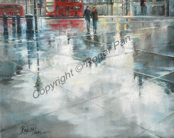 Digital Download art,'' After Rain'', London, from original painting by Roger Pan, 8x10inch