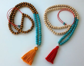 Turquoise Howlite beads Mala Necklace-108 + 1 wooden beads Mala Necklace - Meditation Necklace - Collar para meditación  - tassel necklace -